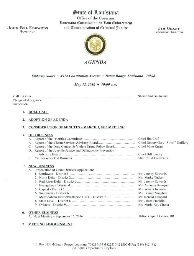 May 12, 2016 Commission Meeting Agenda