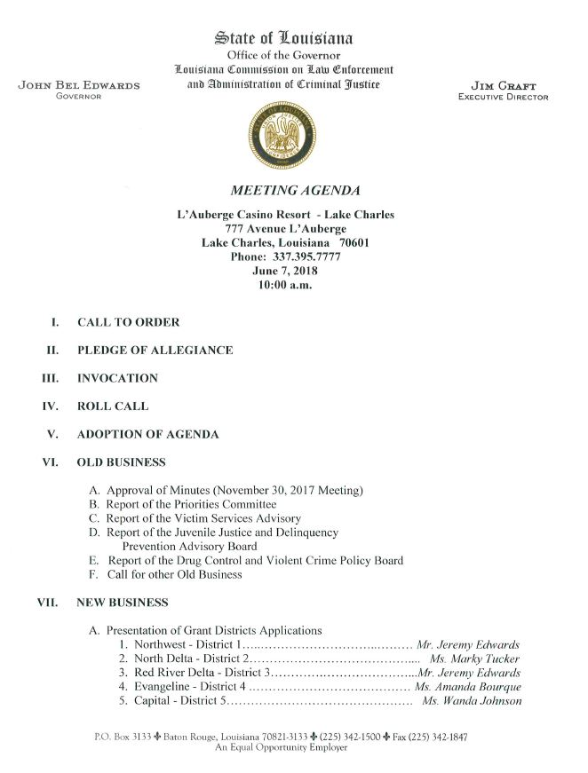 March 14, 2018 Commission Meeting Agenda