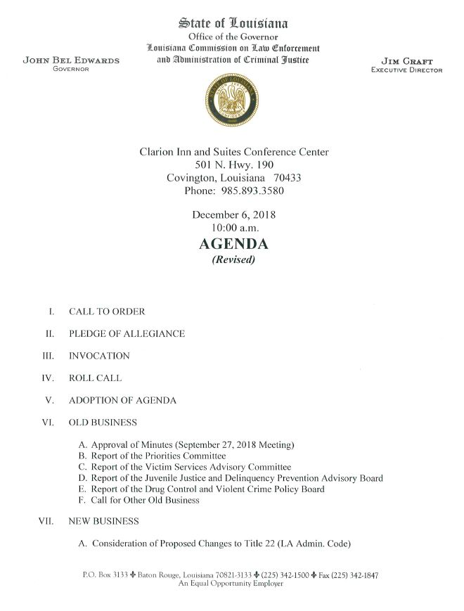 December 06, 2018 Commission Meeting Agenda