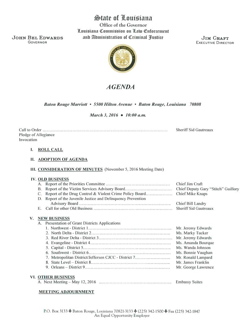 March 3, 2016 Commission Meeting Agenda